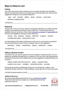 Lent Worksheet